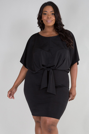 PLUS SIZE BOAT NECK SHORT SLEEVE BELTED DRESS