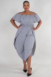 PLUS SIZE OFF SHOULDER SHORT SLEEVE SIDE OPEN JUMPSUIT