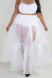 PLUS SIZE SOLID SEE-THROUGH SKIRT