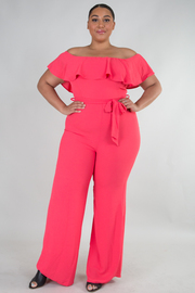 PLUS SIZE OFF SHOULDER FLOUNCED BELTED JUMPSUIT
