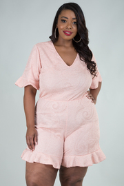 PLUS SIZE V-NECK RUFFLE POINTED ROMPER