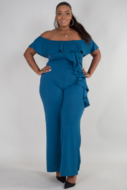 PLUS SIZE OFF SHOULDER FLOUNCED ROMPER