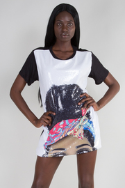 ROUND NECK SHORT SLEEVE PRINTED TOP