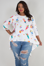 PLUS SIZE 3/4 SLEEVE HIGH LOW COCKTAIL TOP
