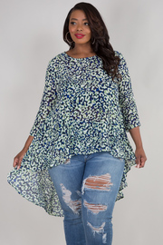 PLUS SIZE 3/4 SLEEVE HIGH LOW PRINT TOP