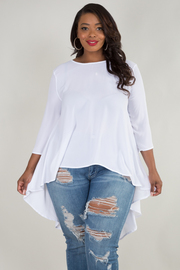 PLUS SIZE 3/4 SLEEVE HIGH LOW SOLID TOP