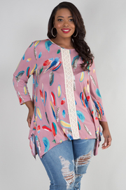 PLUS SIZE ROUND NECK LONG SLEEVE LACED DETAIL TOP