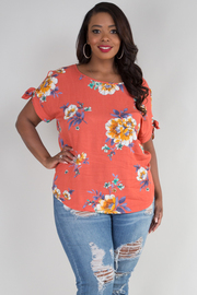 PLUS SIZE BOAT NECK SHORT SLEEVE WITH BOW TIE TOP