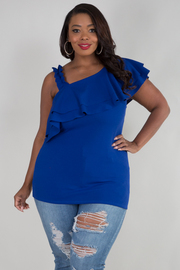 PLUS SIZE ONE STRAP SHOULDER FLOUNCED TOP