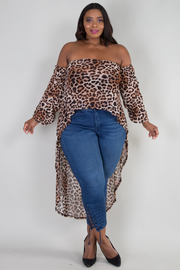 PLUS SIZE OFF SHOULDER LONG SLEEVE HIGH LOW ANIMAL PRINT TOP