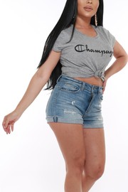 ROUND NECK SHORT SLEEVE CHAMPAGNE TOP