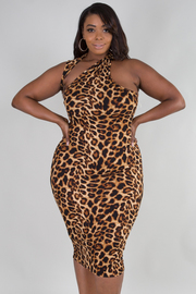 PLUS SIZE UNBALANCED HALTER LEOPARD DRESS