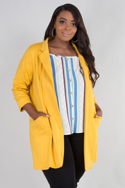 Plus Size 3/4 Sleeve With Pocket Cardigan