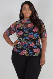 PLUS SIZE HIGH NECK SHORT SLEEVE SHEER FLORAL TOP