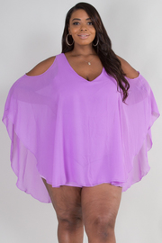 PLUS SIZE COLD SHOULDER HAREM TOP