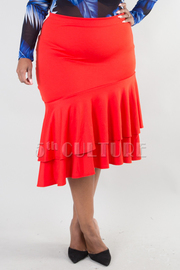 PLUS SIZE TWO LAYER RUFFLED SKIRT