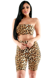 LEOPARD TUBE CROP TOP AND SHORT SET