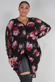 PLUS SIZE LONG SLEEVE SHEER FLORAL CARDIGAN