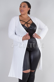 PLUS SIZE LONG SLEEVE SIDE SLITS CARDIGAN
