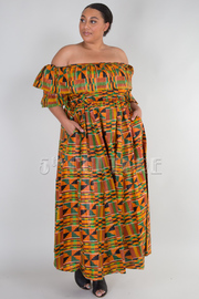 PLUS SIZE OFF SHOULDER FLOUNCED MAXI DRESS