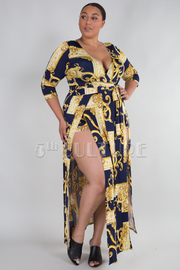 PLUS SIZE 3/4 SLEEVE BELTED ROMPER DRESS