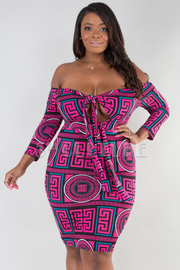 PLUS SIZE OFF SHOULDER LONG SLEEVE TIE FRONT MINI DRESS