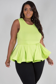 PLUS SIZE ROUND NECK SLEEVELESS PEPLUM TOP