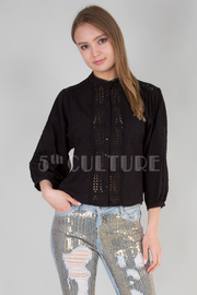 3/4 SLEEVE LACED DETAIL TOP