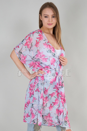 RUFFLED BELTED SHEER FLORAL CARDIGAN