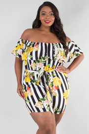 PLUS SIZE OFF SHOULDER FLOUNCED BELTED ROMPER