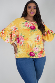 PLUS SIZE ROUND NECK RUFFLED SLEEVE FLORAL TOP