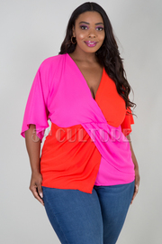 PLUS SIZE 3/4 SLEEVE OVERLAPPED FRONT TOP