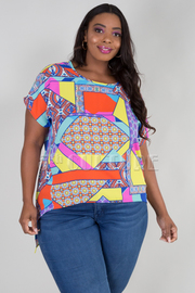 PLUS SIZE ROUND NECK SHORT SLEEVE HIGH LOW TOP