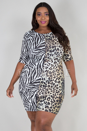 PLUS SIZE ROUND NECK 3/4 SLEEVE LEOPARD MINI DRESS