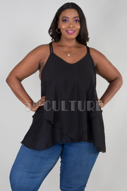 PLUS SIZE DOUBLE LAYER STRAP SHOULDER FLAIR TOP