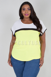 PLUS SIZE ROUND NECK SHORT SLEEVE STRIPE DETAIL TOP