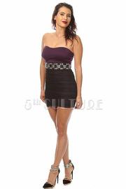 Strapless Beaded Belt Mesh Dress