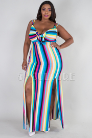 PLUS SIZE STRAP SHOULDER BOW TIE FRONT TWO SLIT MAXI DRESS