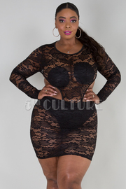 PLUS SIZE SEE THROUGH LACED OPEN BACK MINI DRESS