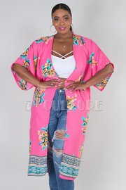 PLUS SIZE 3/4 SLEEVE FLORAL CARDIGAN