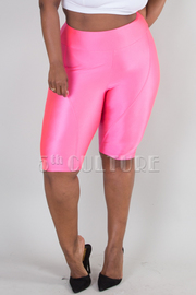 PLUS SIZE SHINY FITTED SOLID SHORTS