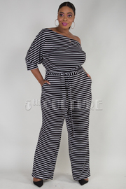 PLUS SIZE ONE SHOULDER BOW TIE BELTED STRIPE JUMPSUIT