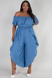 PLUS SIZE OFF SHOULDER SHORT SLEEVE SIDE OPEN DENIM JUMPSUIT