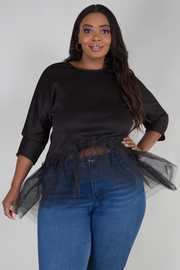Plus Size 3/4 Sleeve Solid Bottom Tulle Solid High Low Top