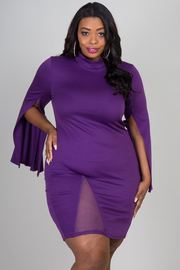 Plus Size Mock neck front slit shoulder pad fashion sleeve sexy dress