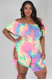 PLUS SIZE OFF SHOULDER SIDE OPEN WITH SPAGHETTI TIE DYED ROMPER