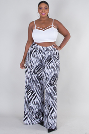 PLUS SIZE BLACK AND WHITE GEO GRAPHIC PANTS