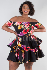 PLUS SIZE OFF SHOULDER SHORT SLEEVE TWO LAYER MINI DRESS