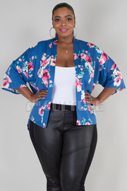 PLUS SIZE 3/4 SLEEVE FLORAL JACKET