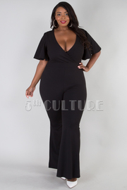 PLUS SIZE OVERLAPPED FRONT SHORT SLEEVE FLAIR JUMPSUIT